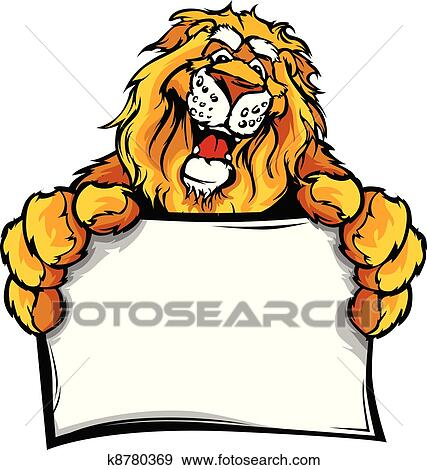 clip art of happy lion cartoon with sign k8780369 search clipart rh fotosearch com free lion mascot clipart