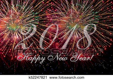 clipart happy new year 2018 card with fireworks fotosearch search clip art