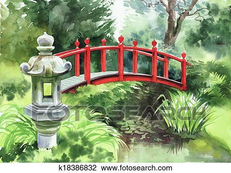 Clipart Jardin Japonais A Rouges Pont K18386832 Recherchez