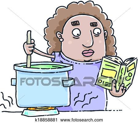 Lecture Livre Cuisine Clipart
