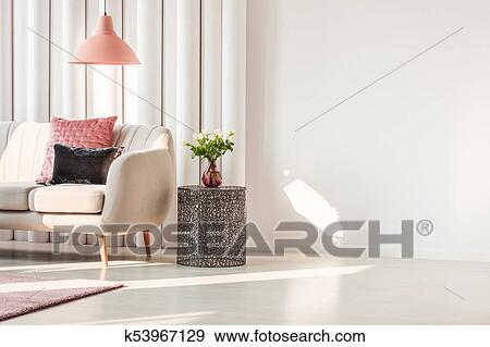 Stock Photograph Of Living Room With Beige Sofa K53967129 Search