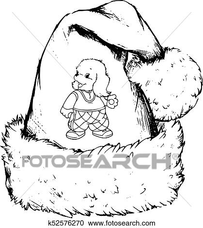 Silhouette Drawing Santa Claus Hat With Dog Pattern On White Background Clipart
