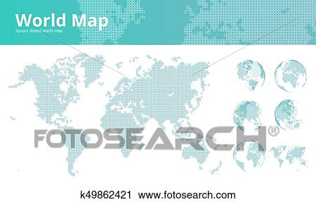 Square Earth Map.Clipart Of Square Dotted World Map With Earth Globes K49862421
