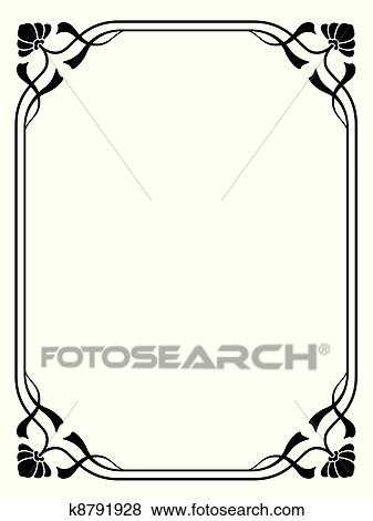 Clip Art of art nouveau ornamental decorative frame k8791928 ...