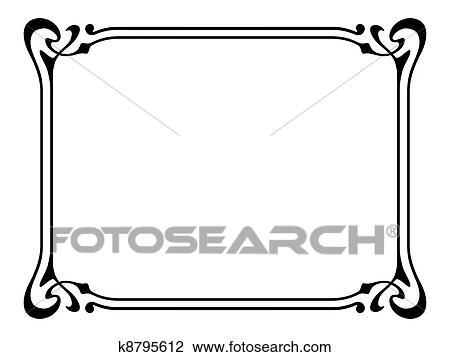 clipart of art nouveau ornamental decorative frame k8795612 search rh fotosearch com art nouveau flower clipart art nouveau clipart borders