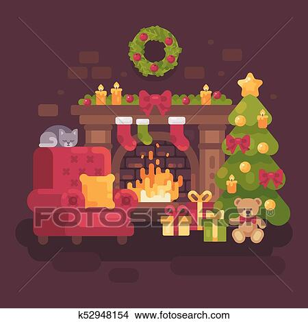 Fireplace Christmas.Cozy Decorated Christmas Room With A Fireplace A Red Armchair A Christmas Tree With Presents And A Sleeping Cat Holiday Flat Illustration Clipart