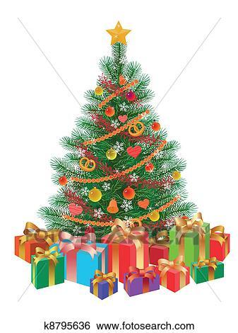 Clip Art Dekoriert Weihnachtsbaum Wirh Geschenke Freigestellt