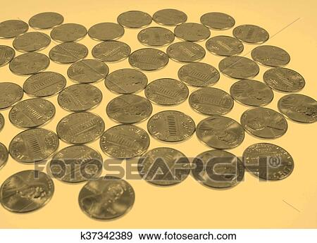 Dollar Coins 1 Cent Wheat Penny Cent Vintage Stock Photo