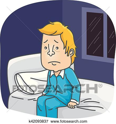 clip art of man sitting on bed cannot sleep k42093837 search