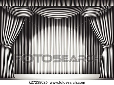 Stage With White Curtain Black And Retro Illustration