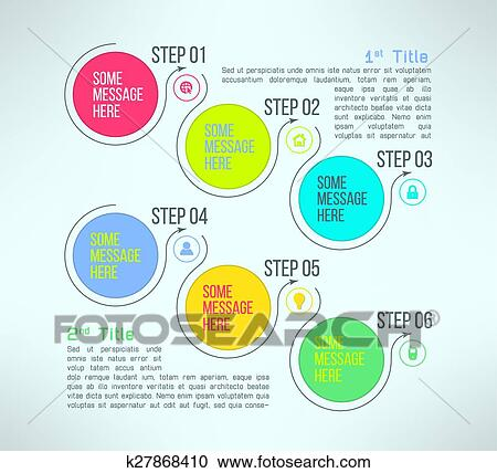 clipart of vector business process steps infographics template