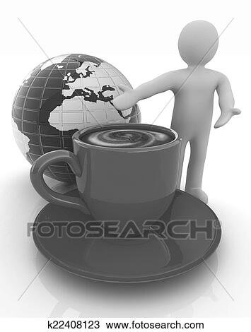 People Man Person Presenting Mug Of Coffee With Milk Global Concept Earth