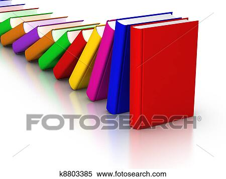 Stock Image of Colorful books Domino Effect k8803385 - Search Stock ...