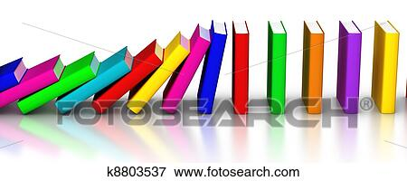 Picture of Colorful books falling like domino k8803537 - Search ...