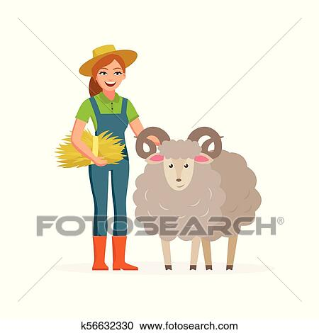 Royalty Free RF Clipart Happy Farmer Man Carrying Vector Image