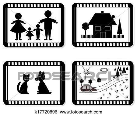 Clip Art of Film frames for family photo album k17720896 - Search ...