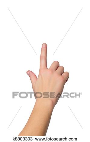 c633e5cef4 Banque de Photo - grand plan, coup, de, main femelle, à, a, doigt, toucher,  somethimg, ou, pousser bouton, isolé, blanc, fond, -, peu profond, ...
