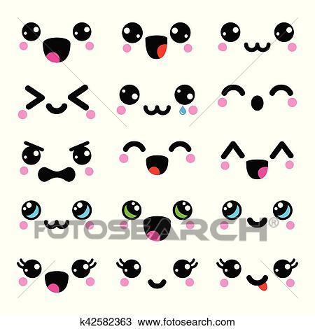 Clipart kawaii carino facce kawaii emoticons for Immagini disegni kawaii
