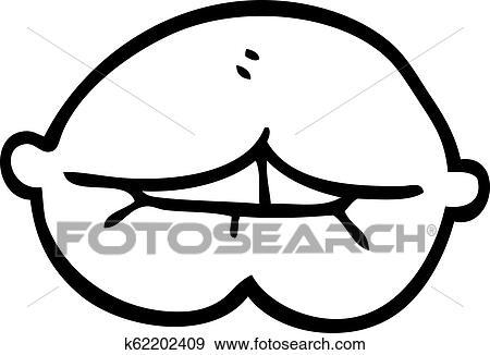 Line Drawing Cartoon Mouth Biting Lower Lip Clip Art K62202409 Fotosearch