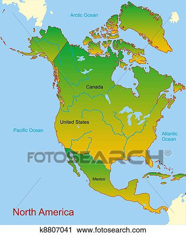map of continent america Map Of North America Continent Clipart K8807041 Fotosearch map of continent america