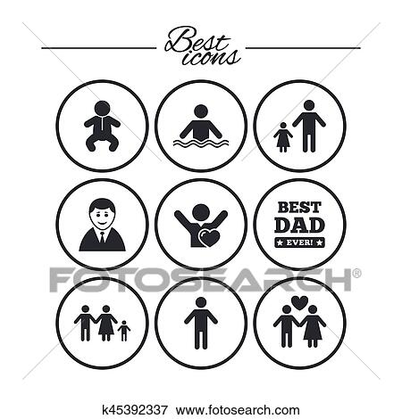 People, family icons. Swimming pool sign. Clip Art ...