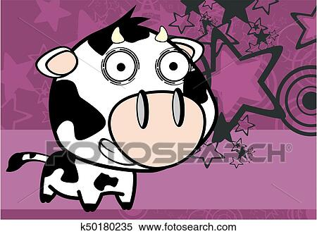 Clipart Rigolote Peu Grande Tete Vache Expression