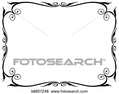 Clip Art of simple ornamental decorative frame k8807248 - Search ...