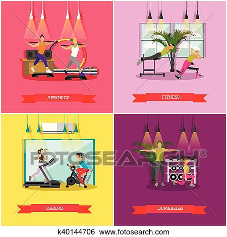 Vector Set Of Workouts In The Gym Flat Design Clip Art