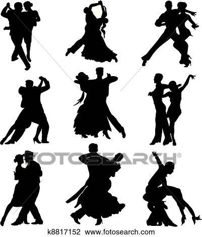 社交ダンス シルエット クリップアート切り張りイラスト絵画