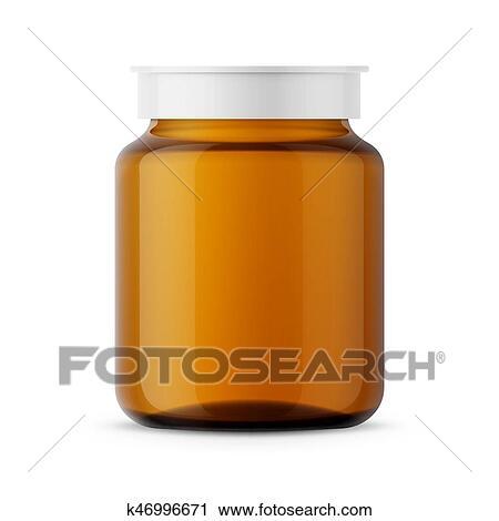 Clipart Of Amber Glass Medicine Bottle Template K46996671