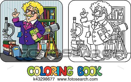 coloring book of funny scientist or inventor clip art k43298677 fotosearch https www fotosearch com csp881 k43298677