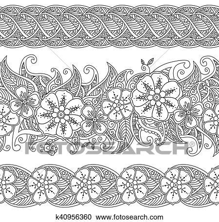 Clipart - conjunto, de, seamless, patrón, floral, fronteras, aislado ...