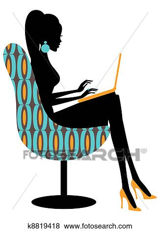 clip art of fashion blogger k8819418 search clipart illustration rh fotosearch com fashion clipart black white fashion clipart black white