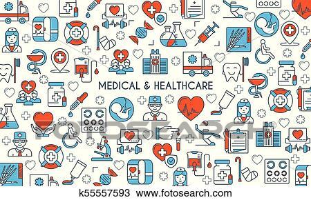 Flat Line Design Medical Banner Clipart K55557593 Fotosearch