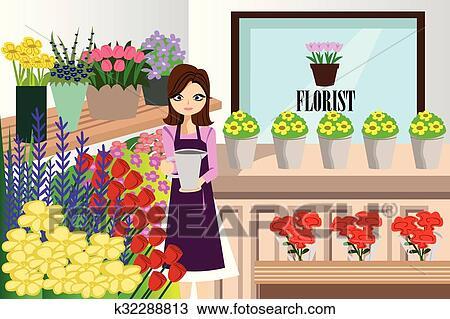 Clipart fleuriste fonctionnement paquet diff rent - Fleuriste dessin ...