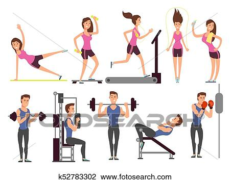 Gym Exercises Body Pump Workout Vector Set With Cartoon Sport Man And Woman Characters Fitness People Clipart K52783302 Fotosearch