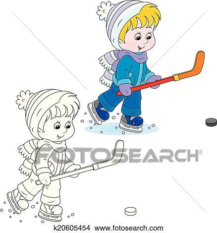 Klein Eishockeyspieler Clipart