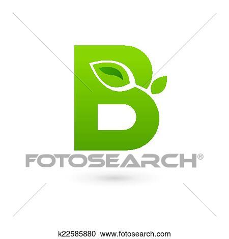 clipart letra b eco folhas logotipo ícone desenho modelo