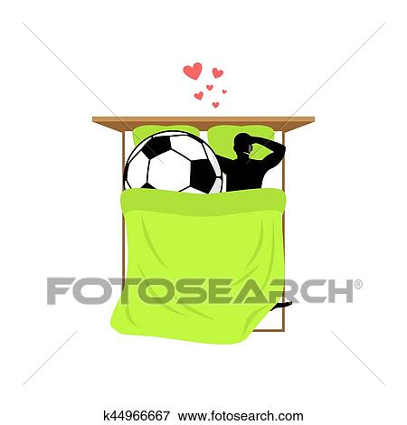 Lover Soccer. Guy And Football Ball In Bed. Lovers In Bedroom. Romantic  Date. Love Sport Play Game