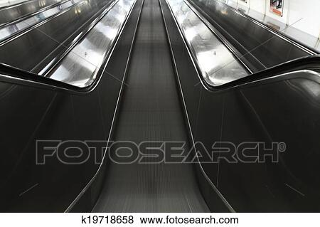Metal Moving Stairs As Nice Transportation Background