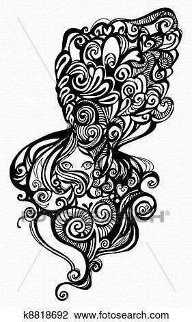 Mulher Com Cabelo Ondulado Desenho K8818692 Fotosearch