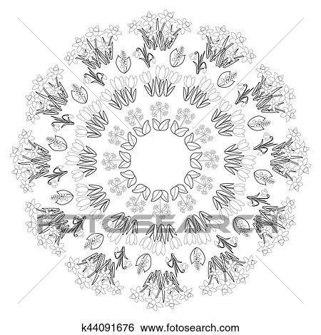 Clip Art Vektor Schwarz Weiß Runder Frühling Blumen Mandala