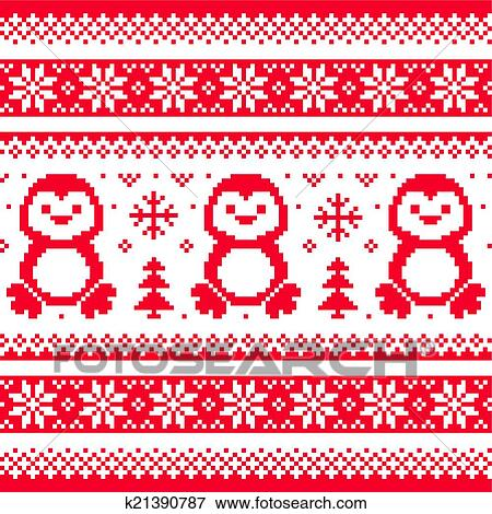 Christmas Pattern.Christmas Winter Knitted Pattern Clip Art K21390787