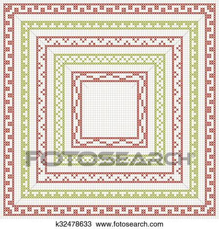 Clipart Of Cross Stitch Embroidery Set Of Borders K32478633