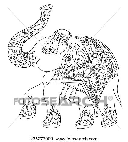 Clip Art Of Ethnic Indian Elephant Line Original Drawing Adults