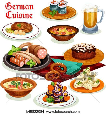 Clipart Of German Cuisine Dinner With Beer And Sausage Icon