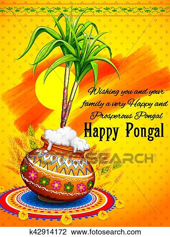 Clipart of happy pongal greeting background k42914172 search clip illustration of happy pongal greeting background m4hsunfo