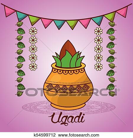 Happy Ugadi Festival Set Template Greeting Card Pot Coconut Flowers