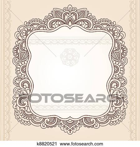 Clipart Of Henna Tattoo Paisley Doodle Frame K8820521 Search Clip