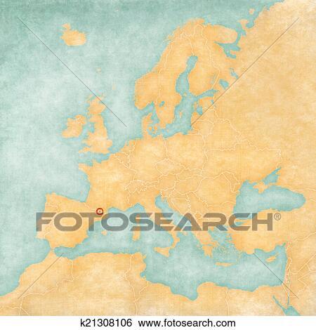 Stock Illustration Of Map Of Europe Andorra Vintage Series